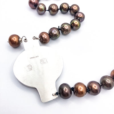 back view of Sunstone Necklace with Bronze Pearls and Unmentionables Clasp by Ling-Yen Jones