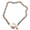 Sunstone Necklace with Bronze Pearls and Unmentionables Clasp by Ling-Yen Jones