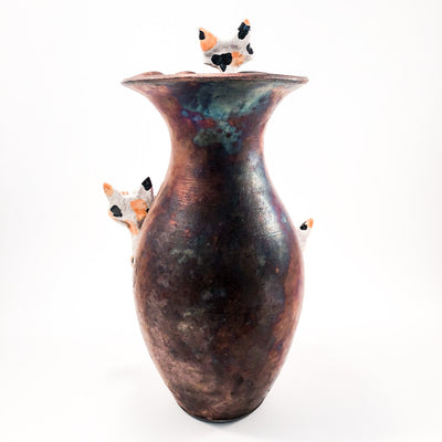 back side view of Hear, See, Speak No Evil Cat Vase by Nolan Windholtz