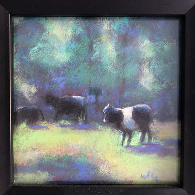 detail view of pastel painting Black & White Cattle in black frame by Wanda Cox