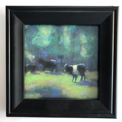 pastel painting Black & White Cattle in black frame by Wanda Cox