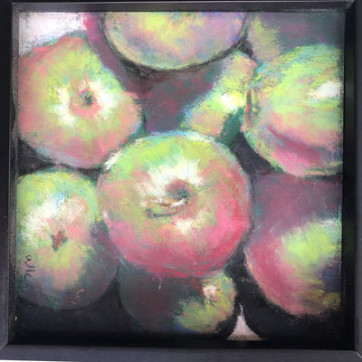 detail view of pastel painting Apples in black wooden frame by Wanda Cox