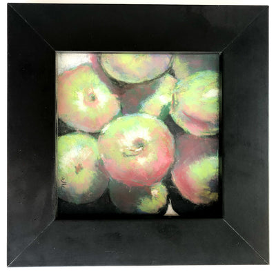 pastel painting Apples in black wooden frame by Wanda Cox