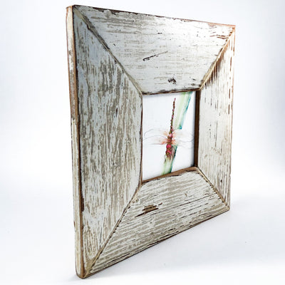 side angle view of Dragonfly in rustic wood frame by Wanda Cox