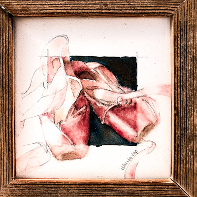 detail view of watercolor painting Toes in rustic frame by Wanda Cox