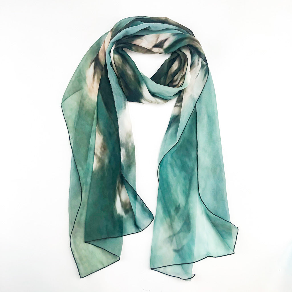 Turquoise Painting of Cotton Scarf by Wanda Cox