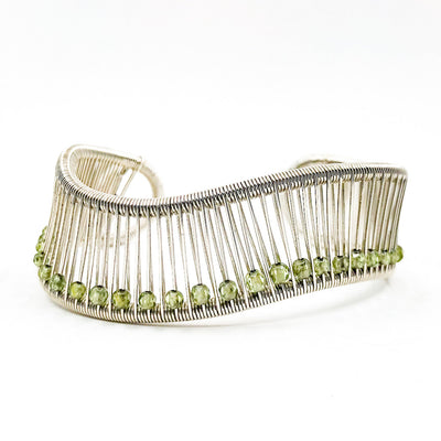 Sterling Wave Cuff with 3mm Faceted Peridot by Tana Acton