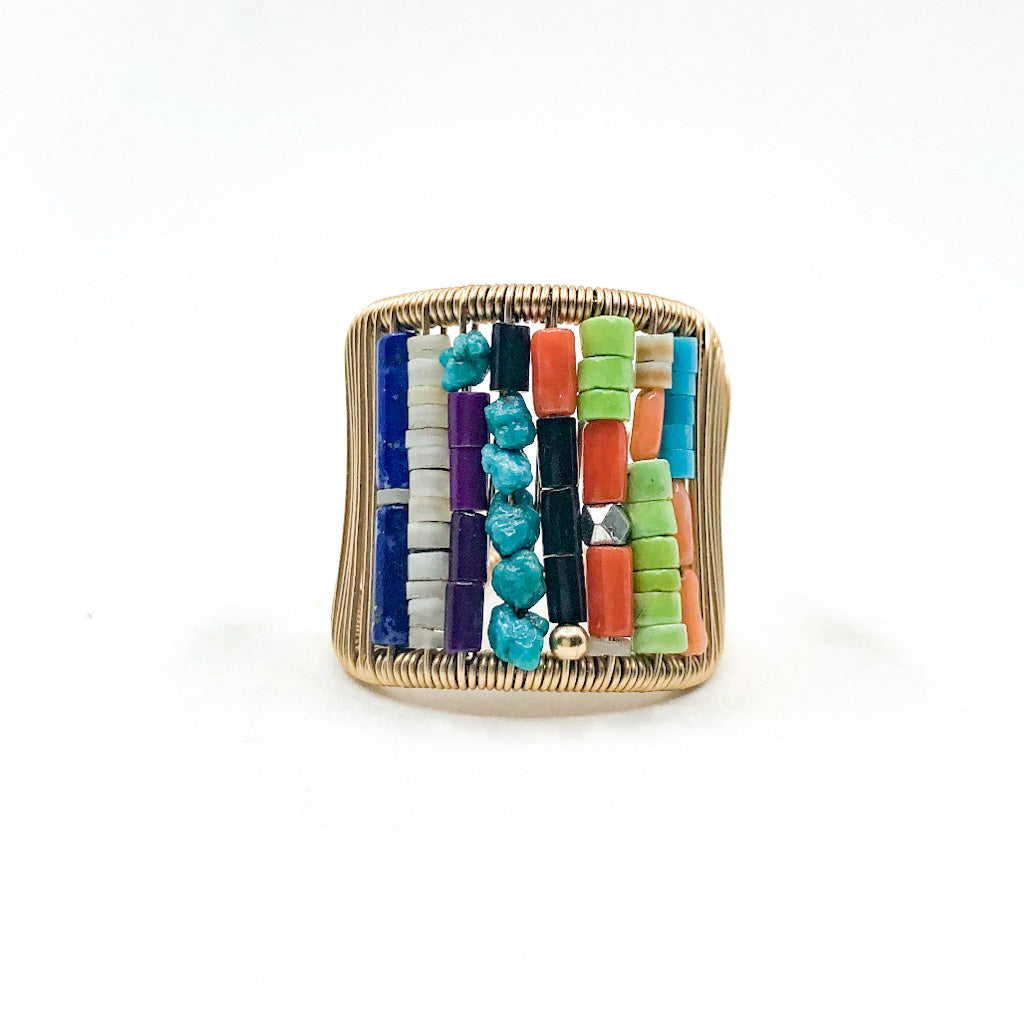 Gold Filled Ring with Rows of Multi Color Heishi Beads by Tana Acton