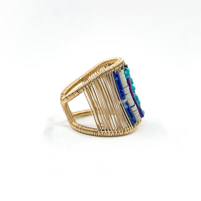 right side view of Gold Filled Ring with Rows of Multi Color Heishi Beads by Tana Acton