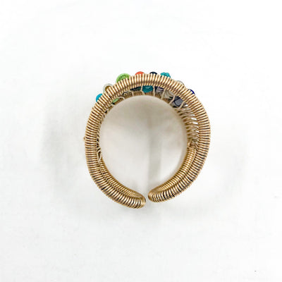 over top view of Gold Filled Ring with Rows of Multi Color Heishi Beads by Tana Acton
