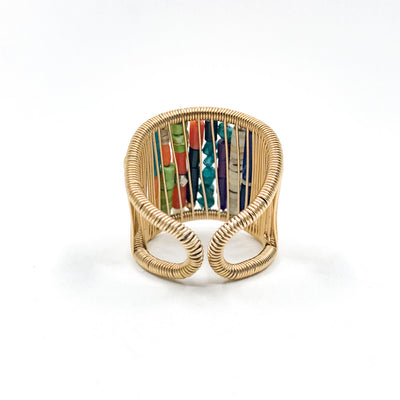 back side view of Gold Filled Ring with Rows of Multi Color Heishi Beads by Tana Acton