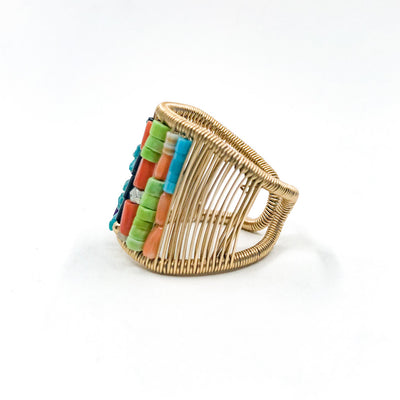 left side view of Gold Filled Ring with Rows of Multi Color Heishi Beads by Tana Acton