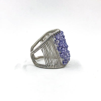 right side view of Sterling Plaited Ring with Amethyst Beads by Tana Acton