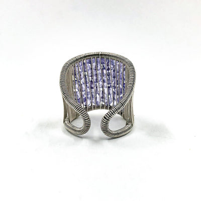 back side view of Sterling Plaited Ring with Amethyst Beads by Tana Acton