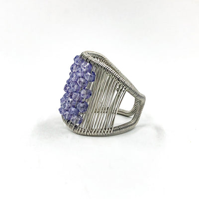 left side view of Sterling Plaited Ring with Amethyst Beads by Tana Acton