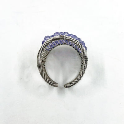 over top view of Sterling Plaited Ring with Amethyst Beads by Tana Acton