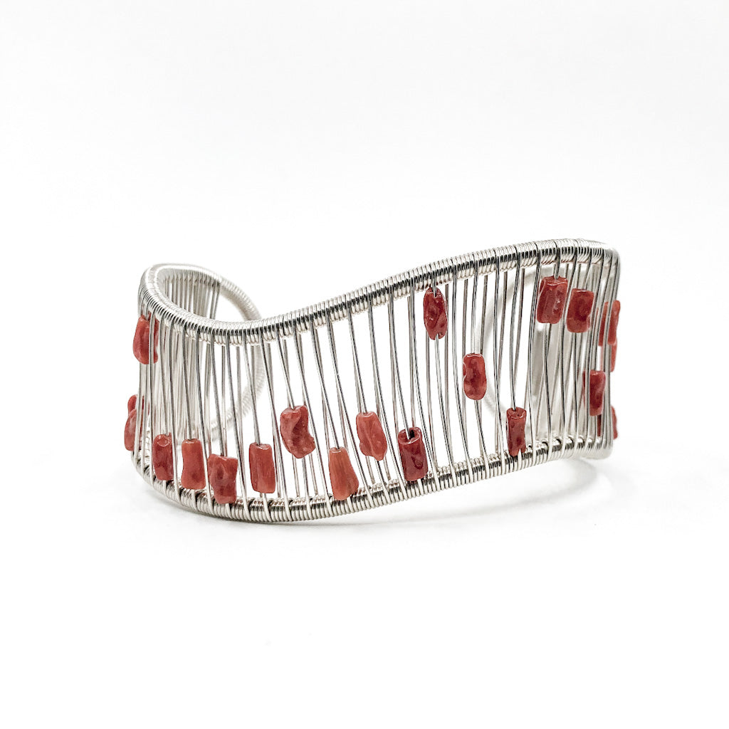 Sterling Real Halion Wave Cuff with Red Coral by Tana Acton