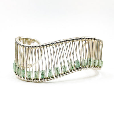 Sterling Wave Bracelet with Jade Tube Beads by Tana Acton