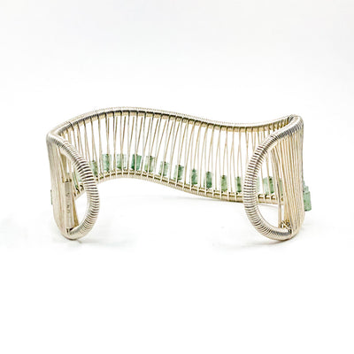 back side view of Sterling Wave Bracelet with Jade Tube Beads by Tana Acton
