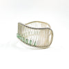 left side view of Sterling Wave Bracelet with Jade Tube Beads by Tana Acton