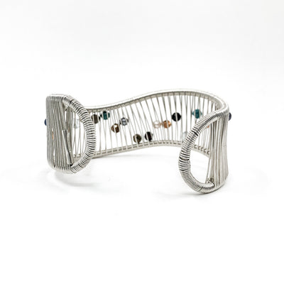 back side view of Sterling Wave Cuff with Multi Color Beads by Tana Acton