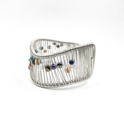 left side view of Sterling Wave Cuff with Multi Color Beads by Tana Acton