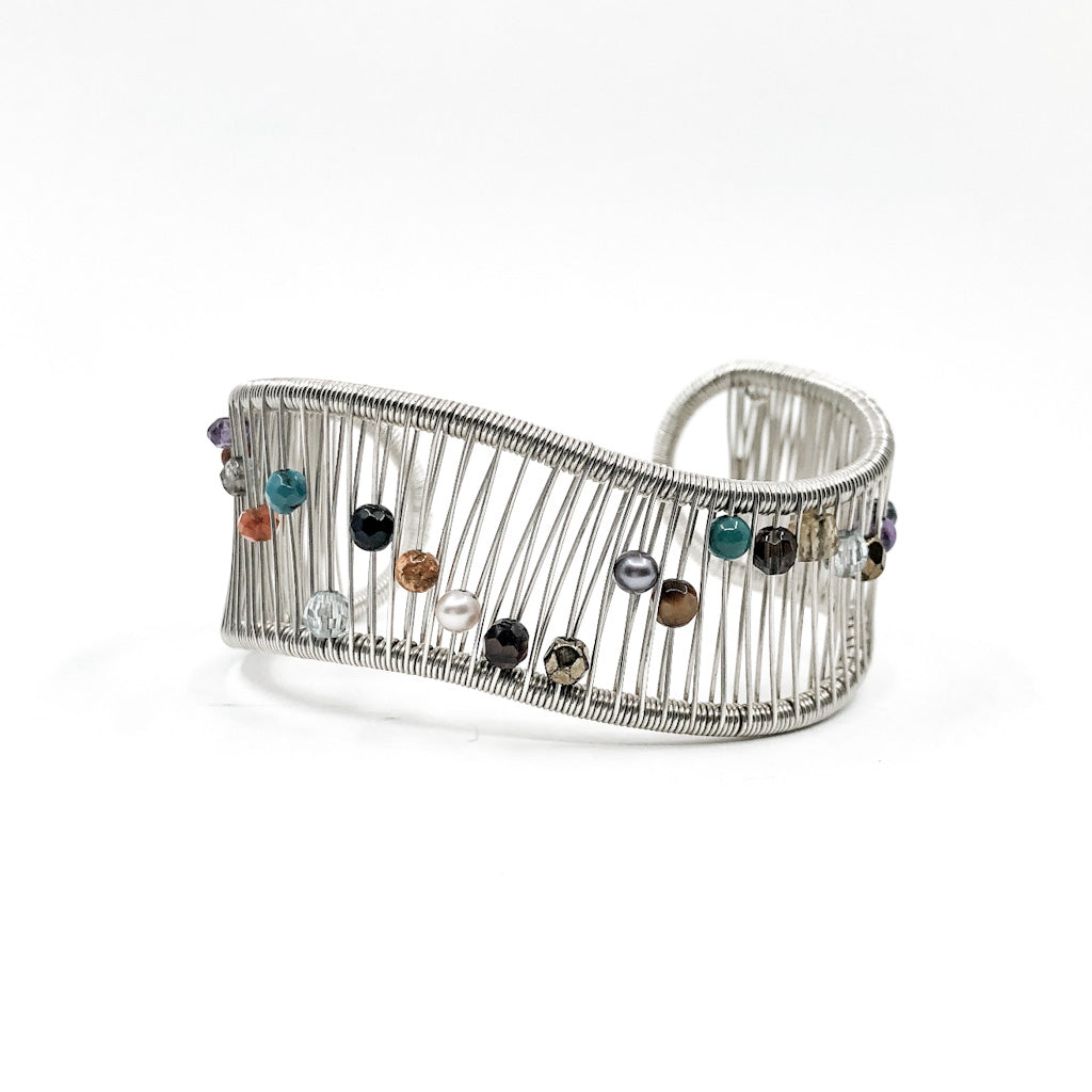 Sterling Wave Cuff with Multi Color Beads by Tana Acton