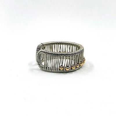 right side view of Sterling Ring with Gold Filled Balls by Tana Acton