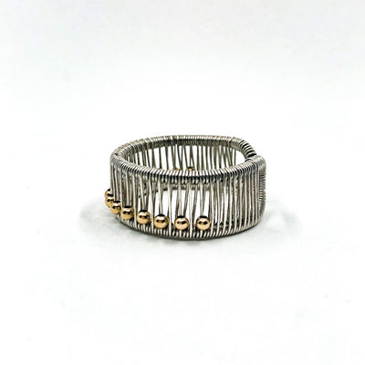 left side view of Sterling Ring with Gold Filled Balls by Tana Acton
