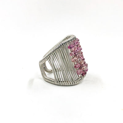 right side view of Sterling Ring with Pink Tourmaline by Tana Acton