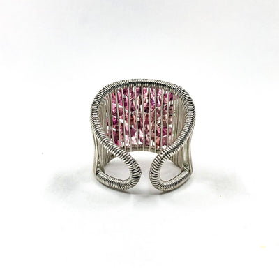 back side view of Sterling Ring with Pink Tourmaline by Tana Acton
