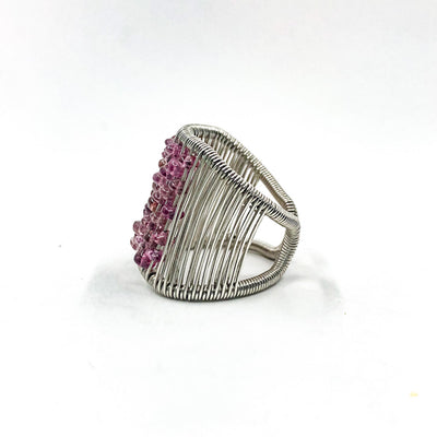 left side view of Sterling Ring with Pink Tourmaline by Tana Acton