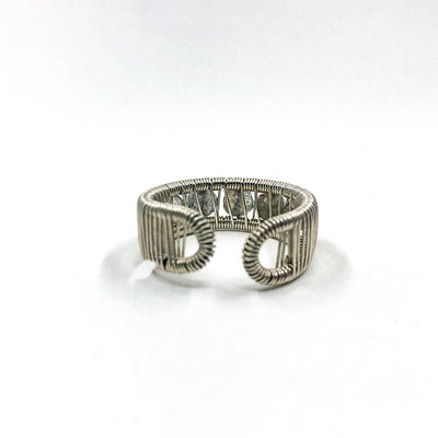 back side view of Sterling Ring with Round Faceted Labradorite Beads by Tana Acton