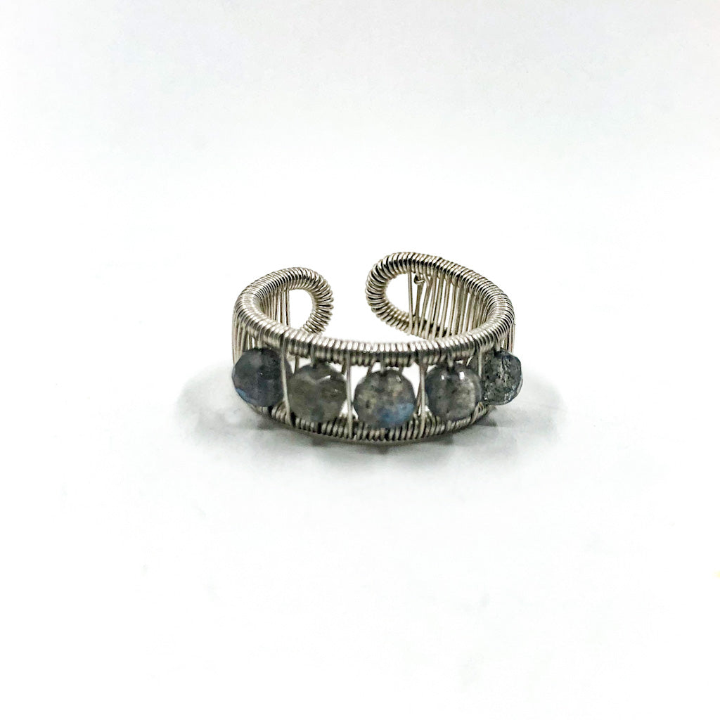 Sterling Ring with Round Faceted Labradorite Beads by Tana Acton