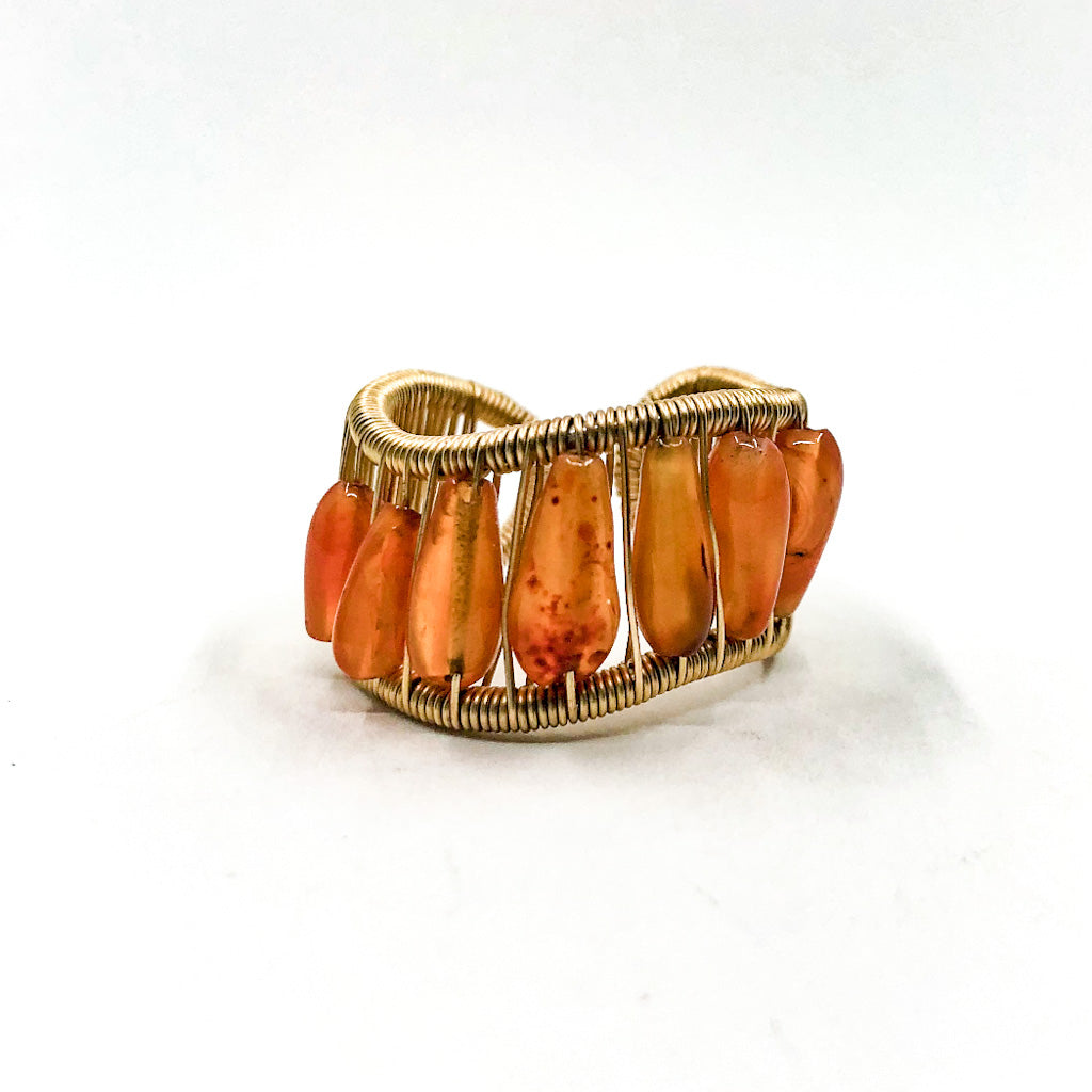 Gold Filled L Wave Ring with Iconical Smooth Carnelian Beads