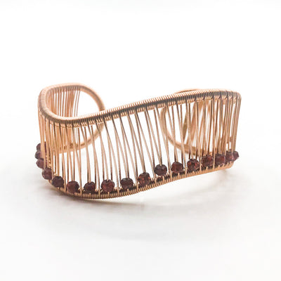 Rose Gold Filled Wave Cuff with Garnet by Tana Acton