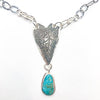 pendant detail view of Sterling Heart Necklace with Turquoise by Maria Sjostrom