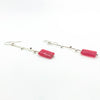 side angle view of Sterling Earrings with Red Jade Rectangle Beads by Maria Sjostrom