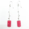 Sterling Earrings with Red Jade Rectangle Beads by Maria Sjostrom