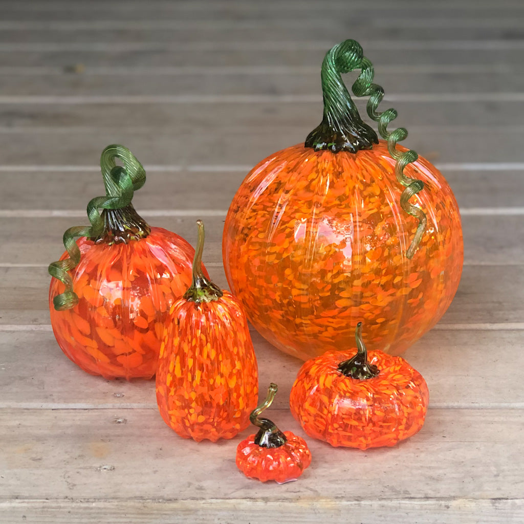 Speckled Orange Pumpkins with Green Stem