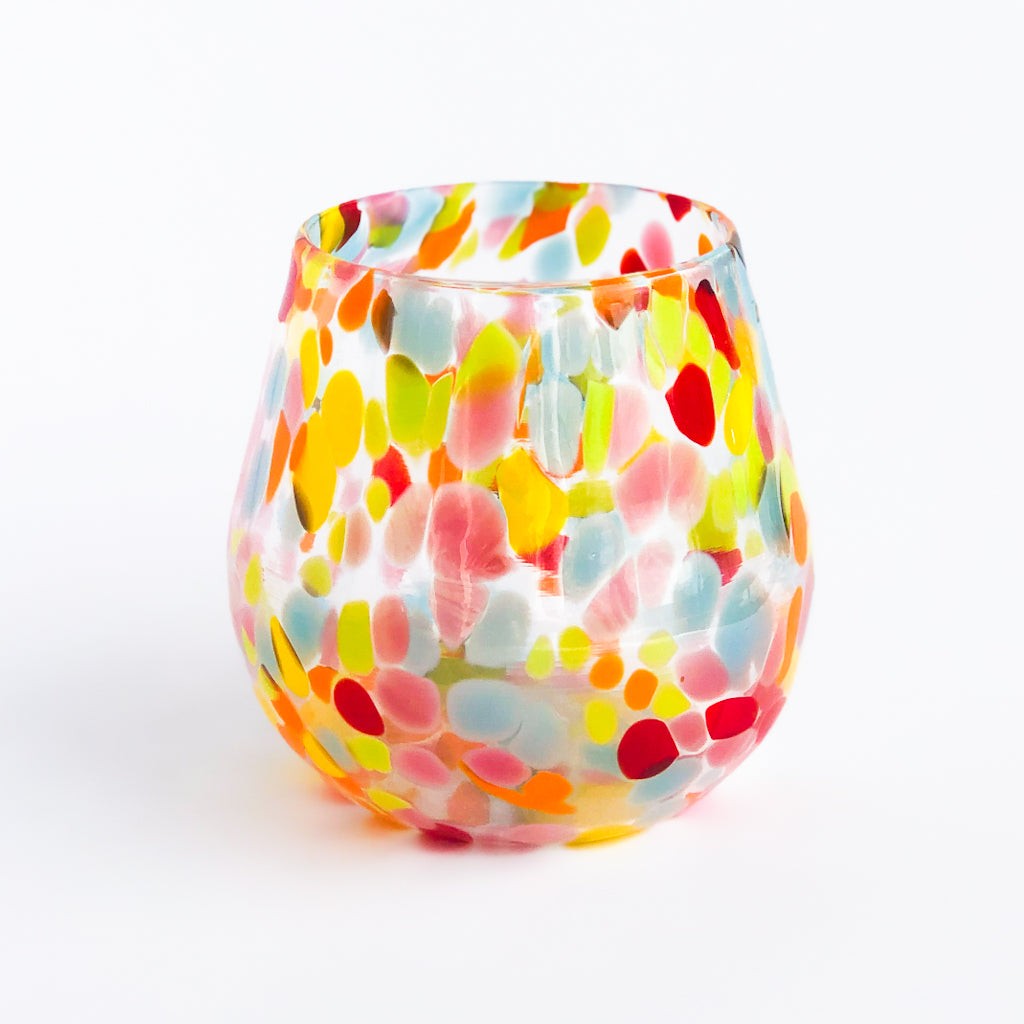 colorful speckled handblown wine cup by nate nardi