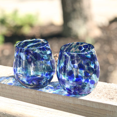 pair of Blue Speckled Wine Glasses by Nate Nardi