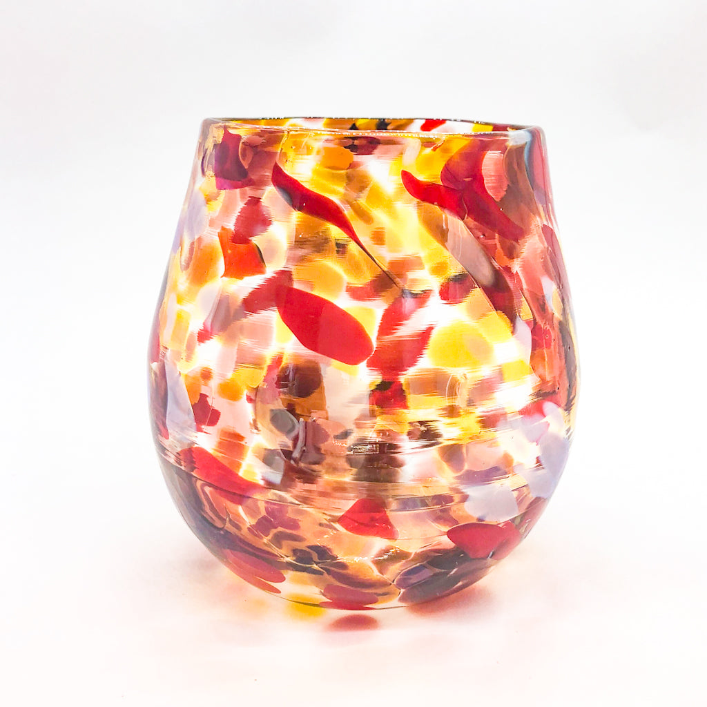Red, Gold & Silver Wine Tumbler by Nate Nardi