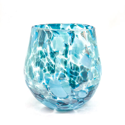 Teal Speckled Wine Tumbler by Nate Nardi