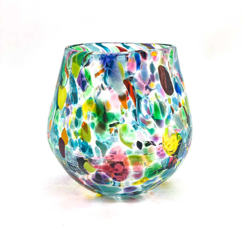 Mulit-Colored Speckled Wine Tumbler by Nate Nardi