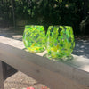 pair of Spring Green Wine Tumblers by Nate Nardi on deck rail in outdoor setting