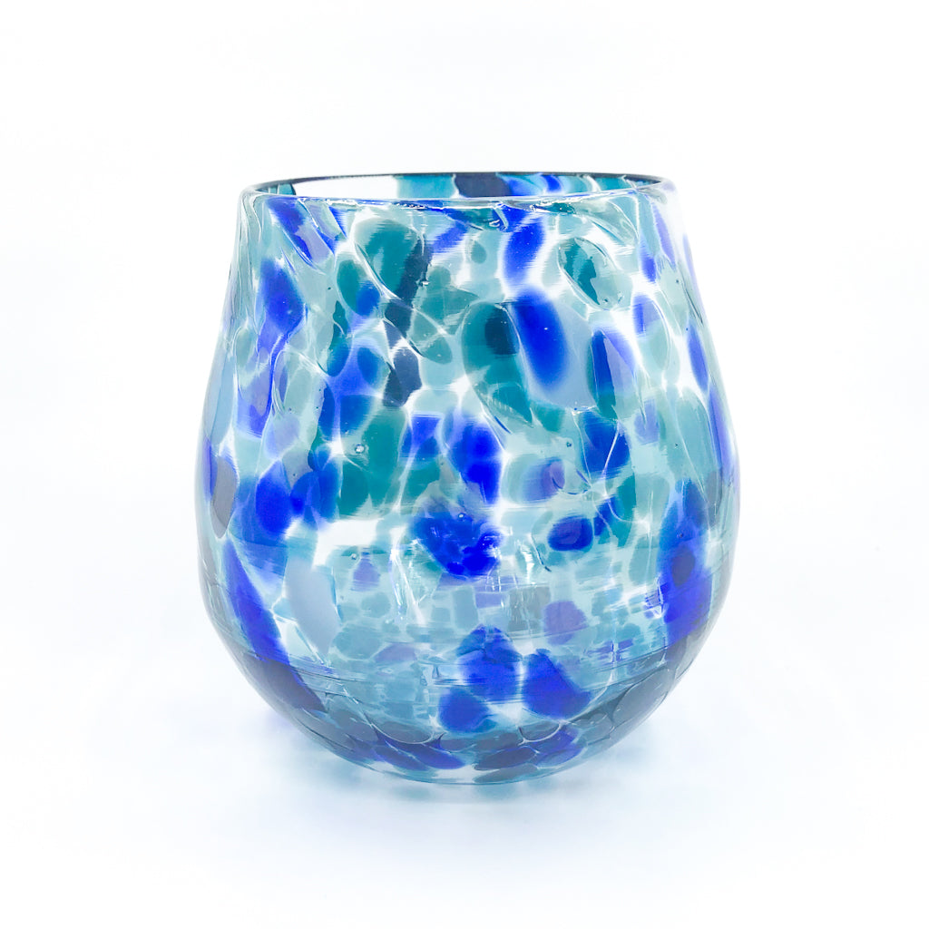 Blue & Teal Wine Tumbler by Nate Nardi