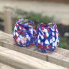 pair of Red, White, and Blue Speckled Wine Tumblers by Nate Nardi in outdoor setting