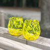 pair of Yellow Speckled Wine Tumblers by Nate Nardi in outdoor setting