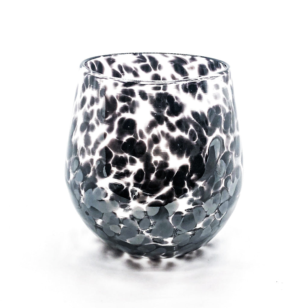 Black Speckled Wine Tumbler by Nate Nardi